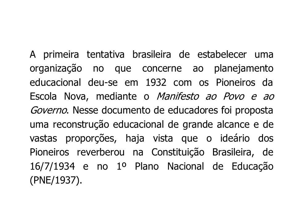 A primeira tentativa brasileira de estabelecer uma organização no que concerne ao planejamento educacional deu-se em 1932 com os Pioneiros da Escola N