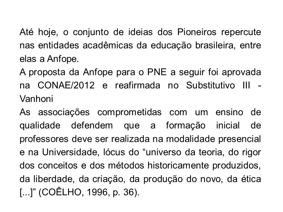 Até hoje, o conjunto de ideias dos Pioneiros repercute nas entidades acadêmicas da educação brasileira, entre elas a Anfope. A proposta da Anfope para