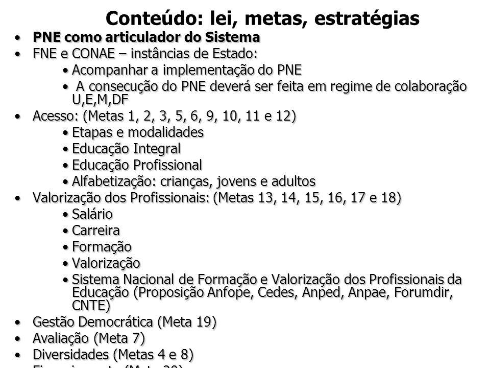 Conteúdo: lei, metas, estratégias •PNE como articulador do Sistema •FNE e CONAE – instâncias de Estado: •Acompanhar a implementação do PNE • A consecu