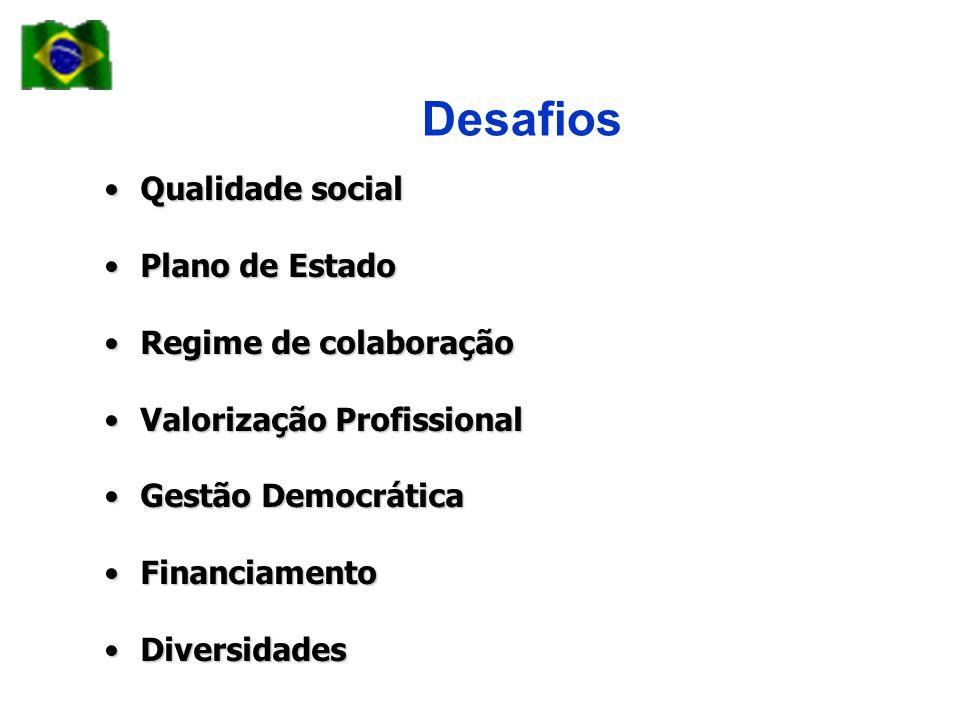 Desafios •Qualidade social •Plano de Estado •Regime de colaboração •Valorização Profissional •Gestão Democrática •Financiamento •Diversidades