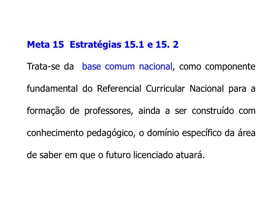 Meta 15 Estratégias 15.1 e 15. 2 Trata-se da base comum nacional, como componente fundamental do Referencial Curricular Nacional para a formação de pr