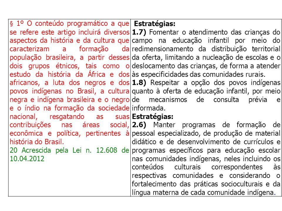 § 1º O conteúdo programático a que se refere este artigo incluirá diversos aspectos da história e da cultura que caracterizam a formação da população