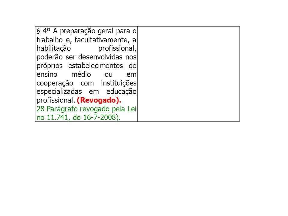 § 4º A preparação geral para o trabalho e, facultativamente, a habilitação profissional, poderão ser desenvolvidas nos próprios estabelecimentos de en