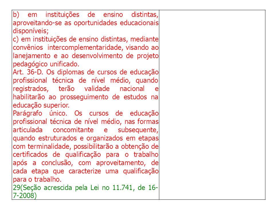 b) em instituições de ensino distintas, aproveitando-se as oportunidades educacionais disponíveis; c) em instituições de ensino distintas, mediante co