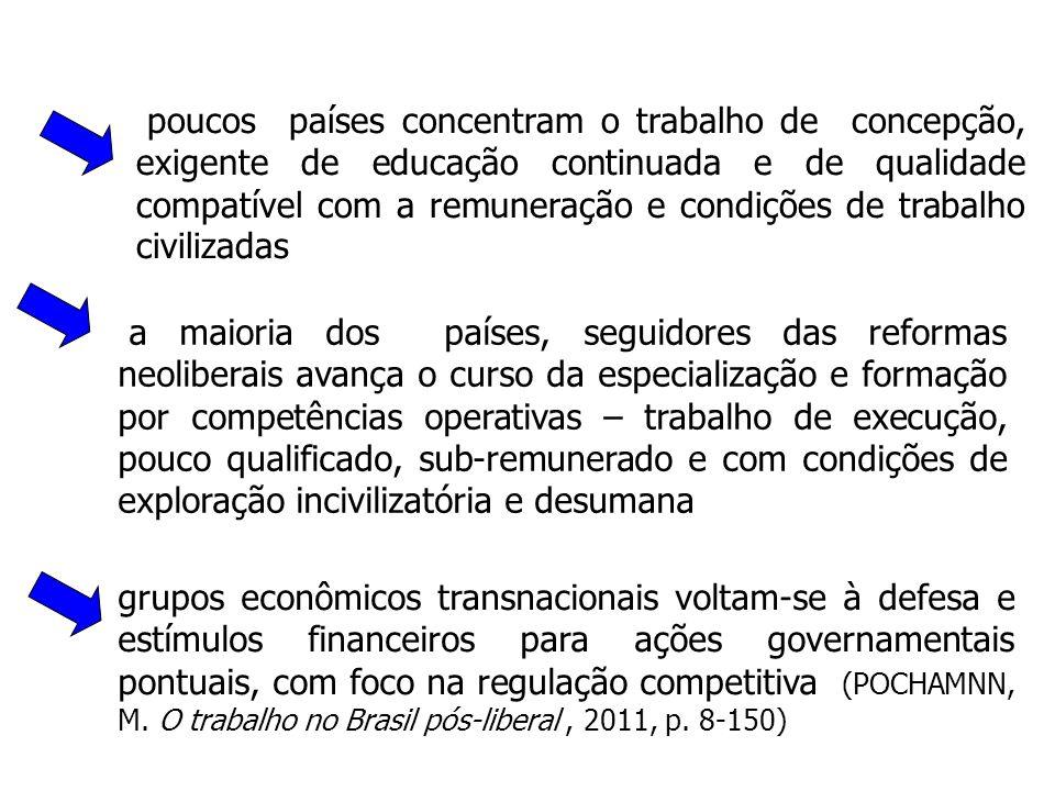 a maioria dos países, seguidores das reformas neoliberais avança o curso da especialização e formação por competências operativas – trabalho de execuç