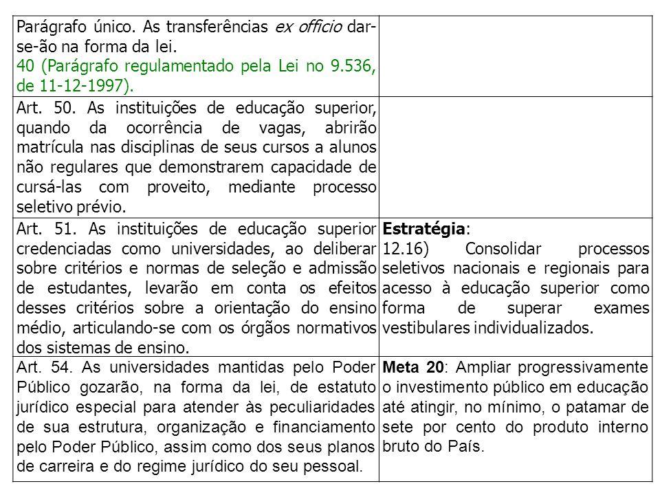 Parágrafo único. As transferências ex officio dar- se-ão na forma da lei. 40 (Parágrafo regulamentado pela Lei no 9.536, de 11-12-1997). Art. 50. As i