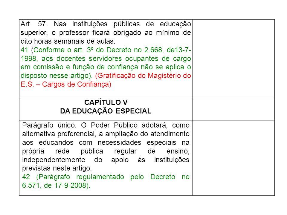 Art. 57. Nas instituições públicas de educação superior, o professor ficará obrigado ao mínimo de oito horas semanais de aulas. 41 (Conforme o art. 3º