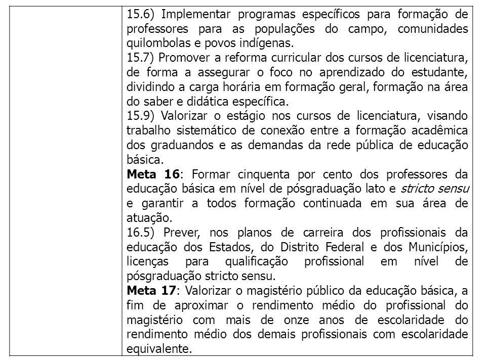 15.6) Implementar programas específicos para formação de professores para as populações do campo, comunidades quilombolas e povos indígenas. 15.7) Pro