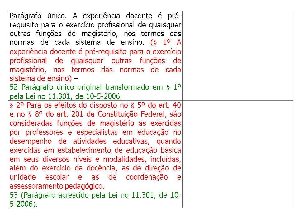 Parágrafo único. A experiência docente é pré- requisito para o exercício profissional de quaisquer outras funções de magistério, nos termos das normas