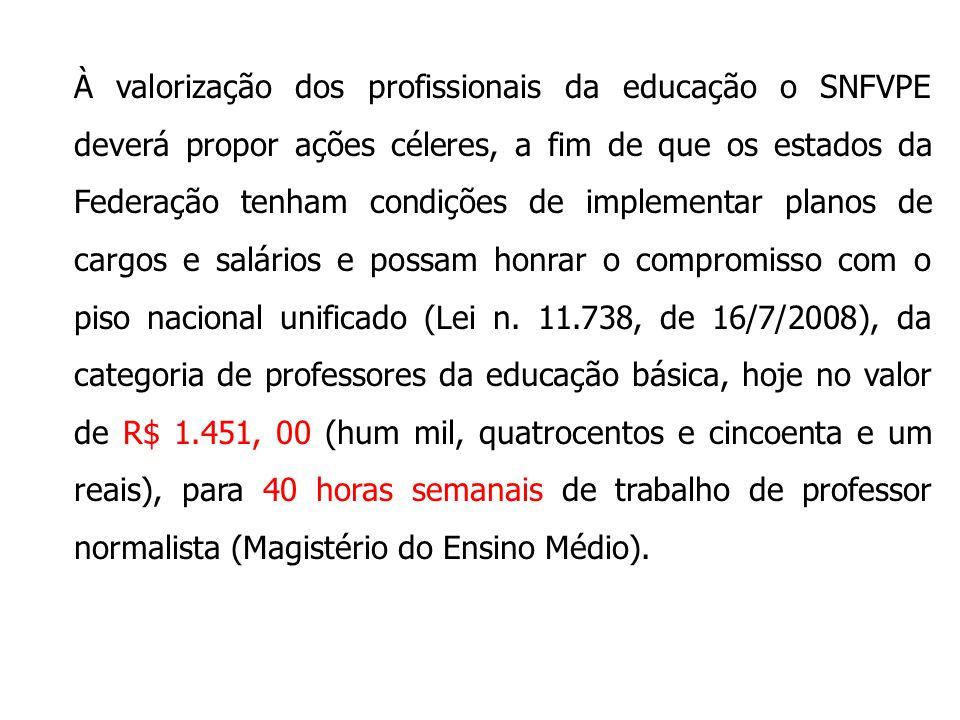 À valorização dos profissionais da educação o SNFVPE deverá propor ações céleres, a fim de que os estados da Federação tenham condições de implementar