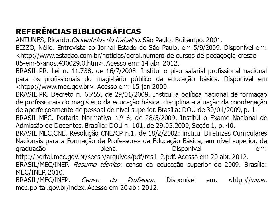 REFERÊNCIAS BIBLIOGRÁFICAS ANTUNES, Ricardo.Os sentidos do trabalho. São Paulo: Boitempo. 2001. BIZZO, Nélio. Entrevista ao Jornal Estado de São Paulo