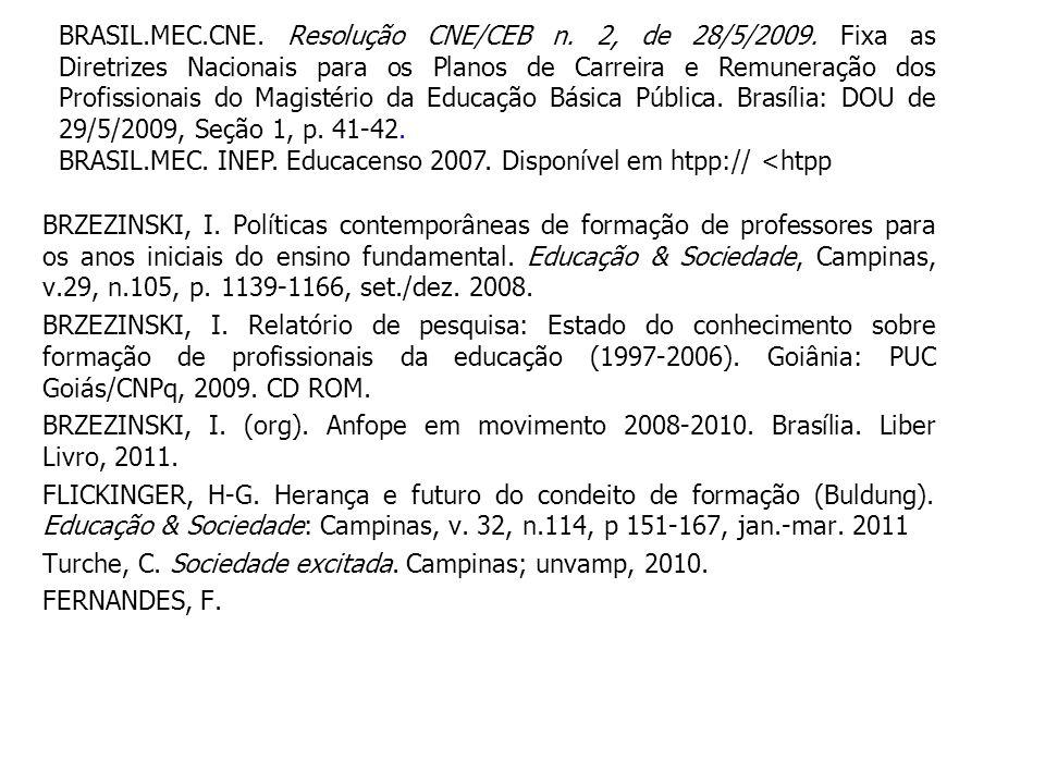 BRZEZINSKI, I. Políticas contemporâneas de formação de professores para os anos iniciais do ensino fundamental. Educação & Sociedade, Campinas, v.29,