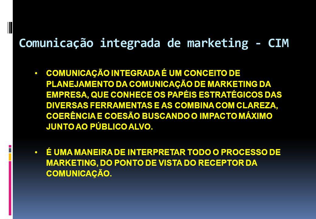 Comunicação integrada de marketing - CIM •COMUNICAÇÃO INTEGRADA É UM CONCEITO DE PLANEJAMENTO DA COMUNICAÇÃO DE MARKETING DA EMPRESA, QUE CONHECE OS P