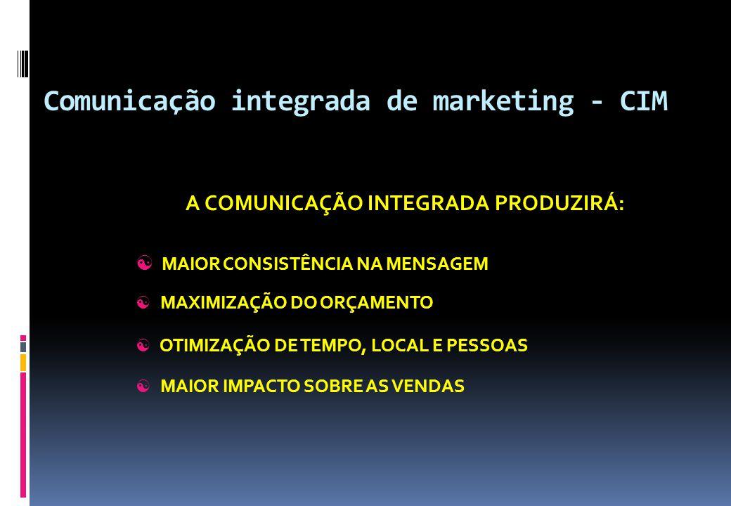 Comunicação integrada de marketing - CIM A COMUNICAÇÃO INTEGRADA PRODUZIRÁ:  MAIOR CONSISTÊNCIA NA MENSAGEM  MAXIMIZAÇÃO DO ORÇAMENTO  OTIMIZAÇÃO D