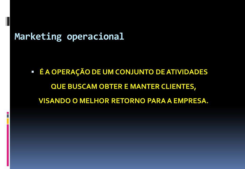 Marketing operacional  É A OPERAÇÃO DE UM CONJUNTO DE ATIVIDADES QUE BUSCAM OBTER E MANTER CLIENTES, VISANDO O MELHOR RETORNO PARA A EMPRESA.