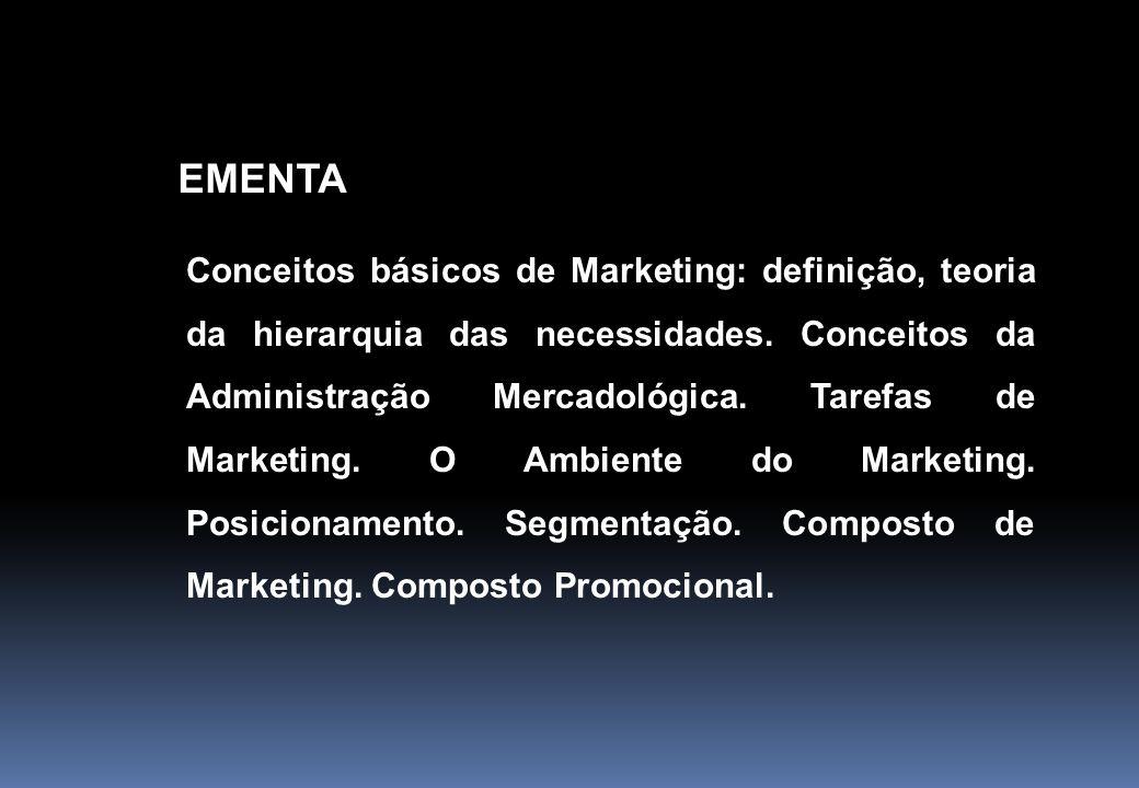 EMENTA Conceitos básicos de Marketing: definição, teoria da hierarquia das necessidades. Conceitos da Administração Mercadológica. Tarefas de Marketin