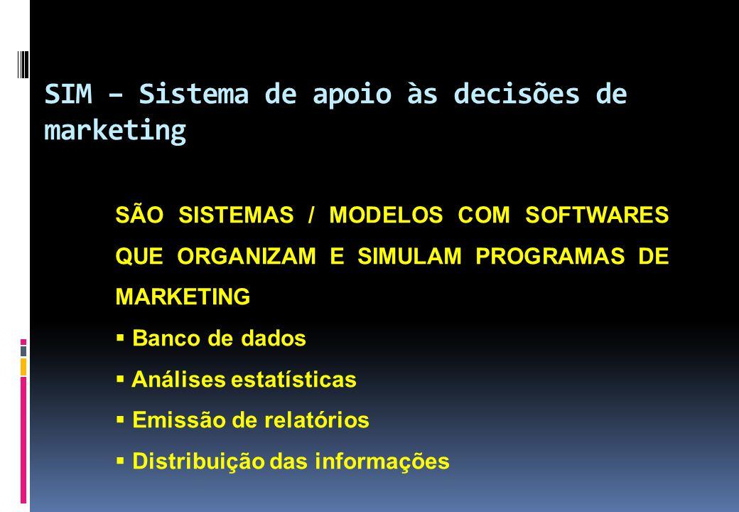 SÃO SISTEMAS / MODELOS COM SOFTWARES QUE ORGANIZAM E SIMULAM PROGRAMAS DE MARKETING  Banco de dados  Análises estatísticas  Emissão de relatórios 