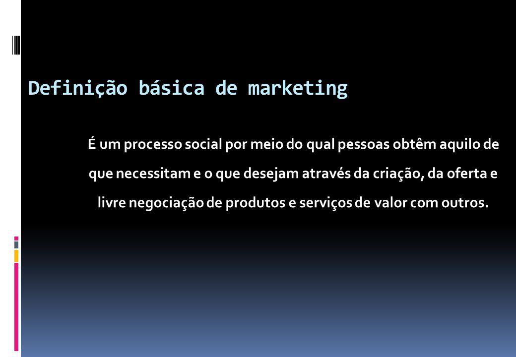 Definição básica de marketing É um processo social por meio do qual pessoas obtêm aquilo de que necessitam e o que desejam através da criação, da ofer