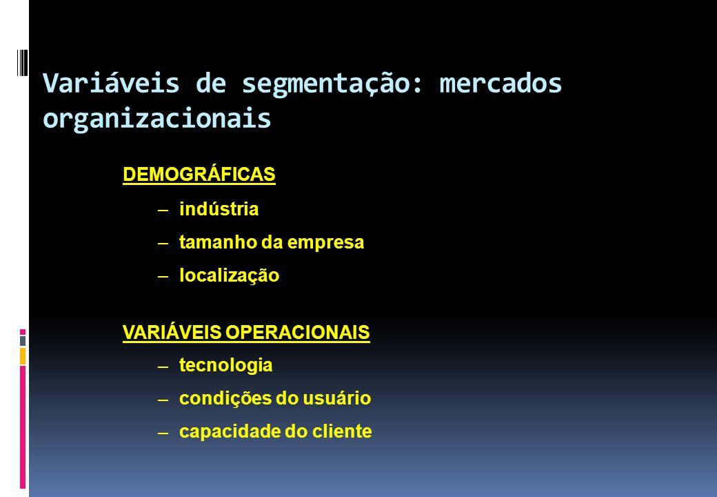 Variáveis de segmentação: mercados organizacionais DEMOGRÁFICAS – indústria – tamanho da empresa – localização VARIÁVEIS OPERACIONAIS – tecnologia – c