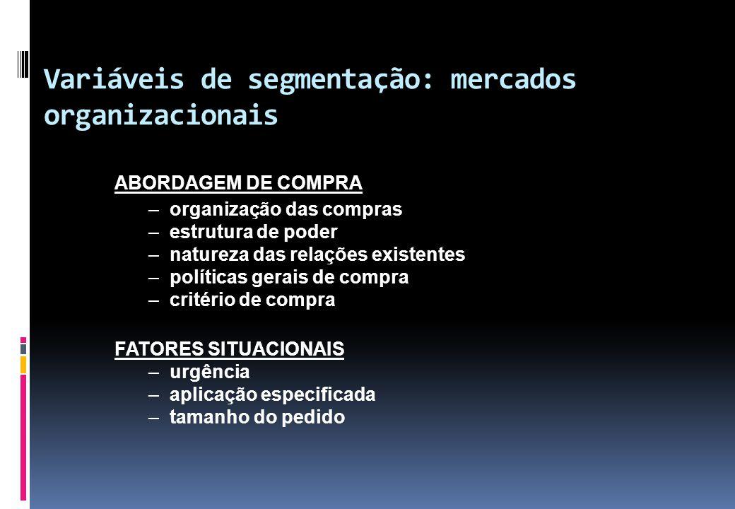 Variáveis de segmentação: mercados organizacionais ABORDAGEM DE COMPRA –organização das compras –estrutura de poder –natureza das relações existentes