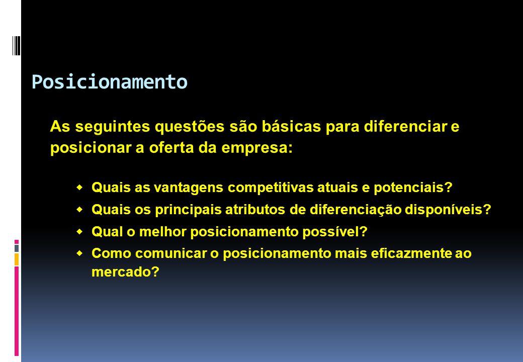 As seguintes questões são básicas para diferenciar e posicionar a oferta da empresa:  Quais as vantagens competitivas atuais e potenciais?  Quais os