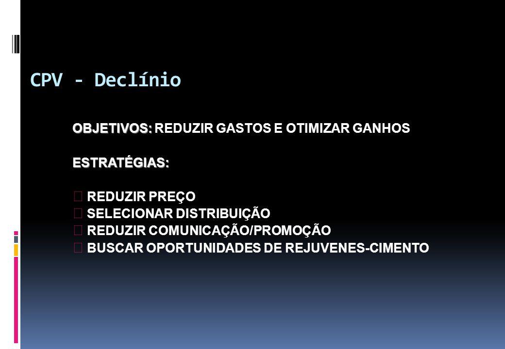 CPV - Declínio OBJETIVOS: OBJETIVOS: REDUZIR GASTOS E OTIMIZAR GANHOSESTRATÉGIAS: b REDUZIR PREÇO b SELECIONAR DISTRIBUIÇÃO b REDUZIR COMUNICAÇÃO/PROM