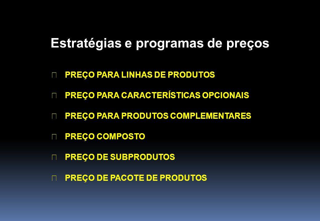 Estratégias e programas de preços ã PREÇO PARA LINHAS DE PRODUTOS ã PREÇO PARA CARACTERÍSTICAS OPCIONAIS ã PREÇO PARA PRODUTOS COMPLEMENTARES ã PREÇO
