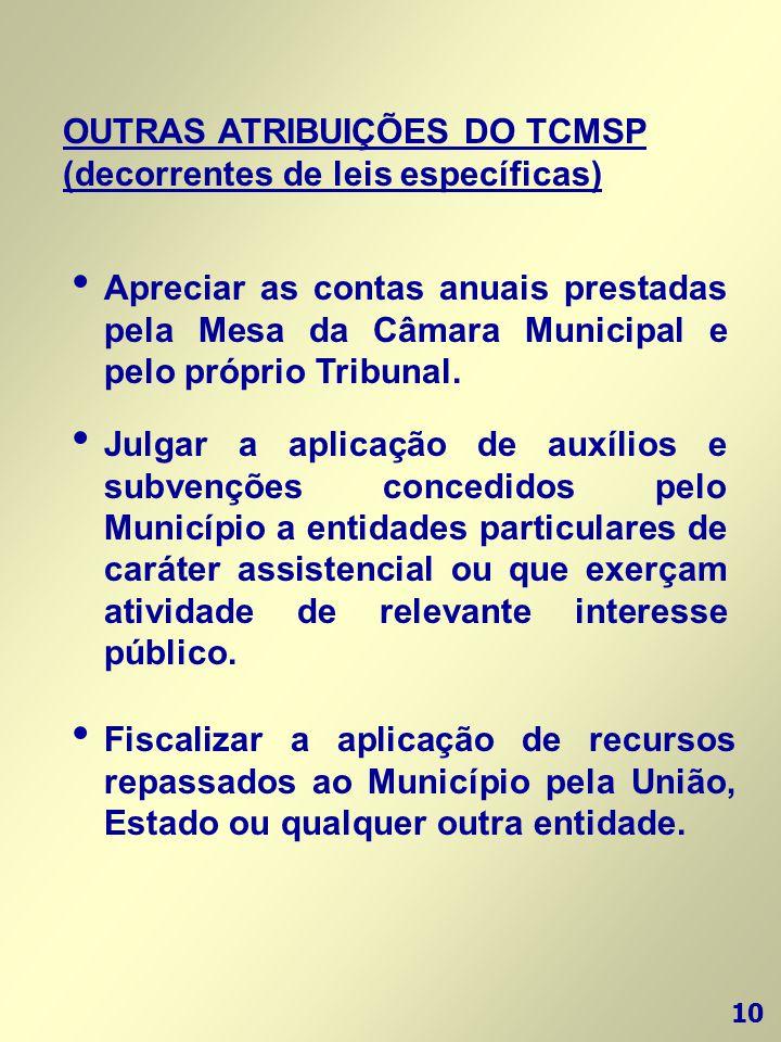 10 OUTRAS ATRIBUIÇÕES DO TCMSP (decorrentes de leis específicas) • Fiscalizar a aplicação de recursos repassados ao Município pela União, Estado ou qu