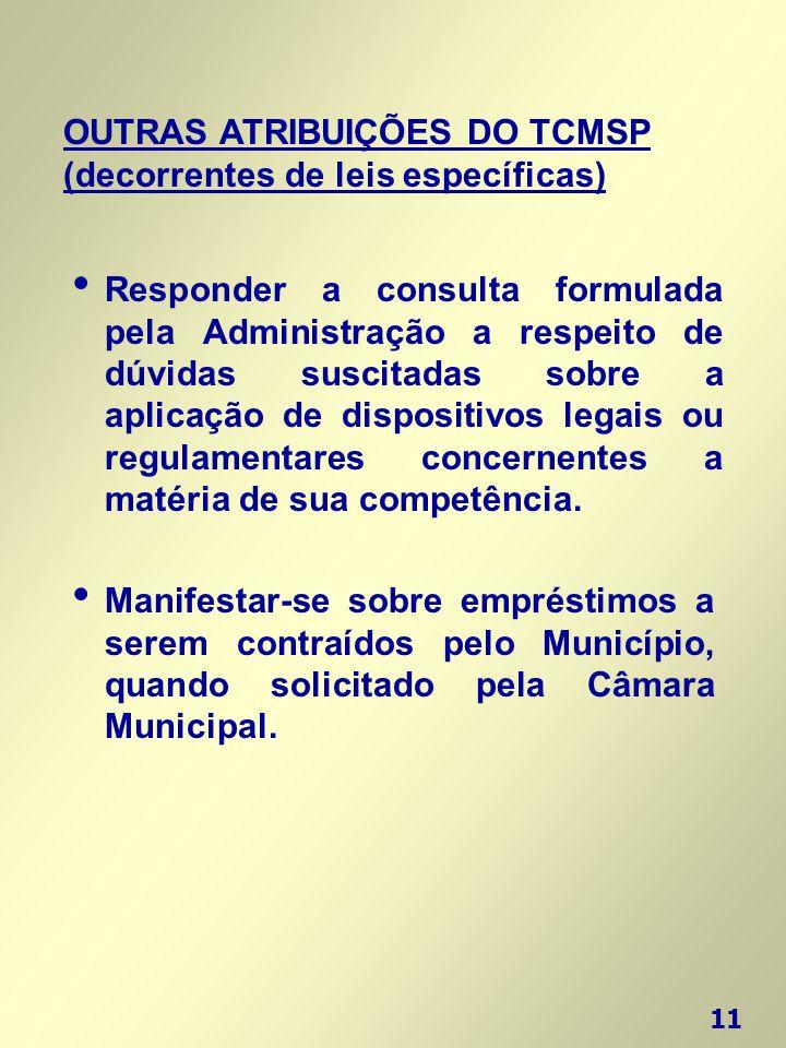 11 OUTRAS ATRIBUIÇÕES DO TCMSP (decorrentes de leis específicas) • Manifestar-se sobre empréstimos a serem contraídos pelo Município, quando solicitad