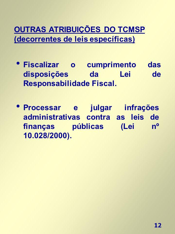 12 OUTRAS ATRIBUIÇÕES DO TCMSP (decorrentes de leis específicas) • Processar e julgar infrações administrativas contra as leis de finanças públicas (L