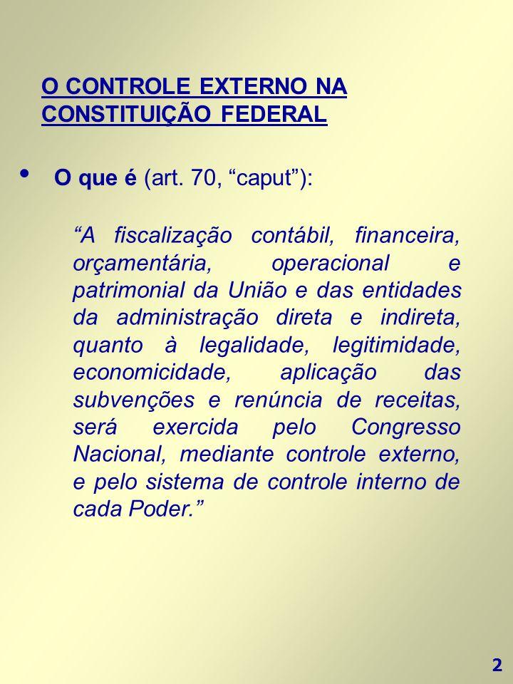 """2 O CONTROLE EXTERNO NA CONSTITUIÇÃO FEDERAL • O que é (art. 70, """"caput""""): """"A fiscalização contábil, financeira, orçamentária, operacional e patrimoni"""