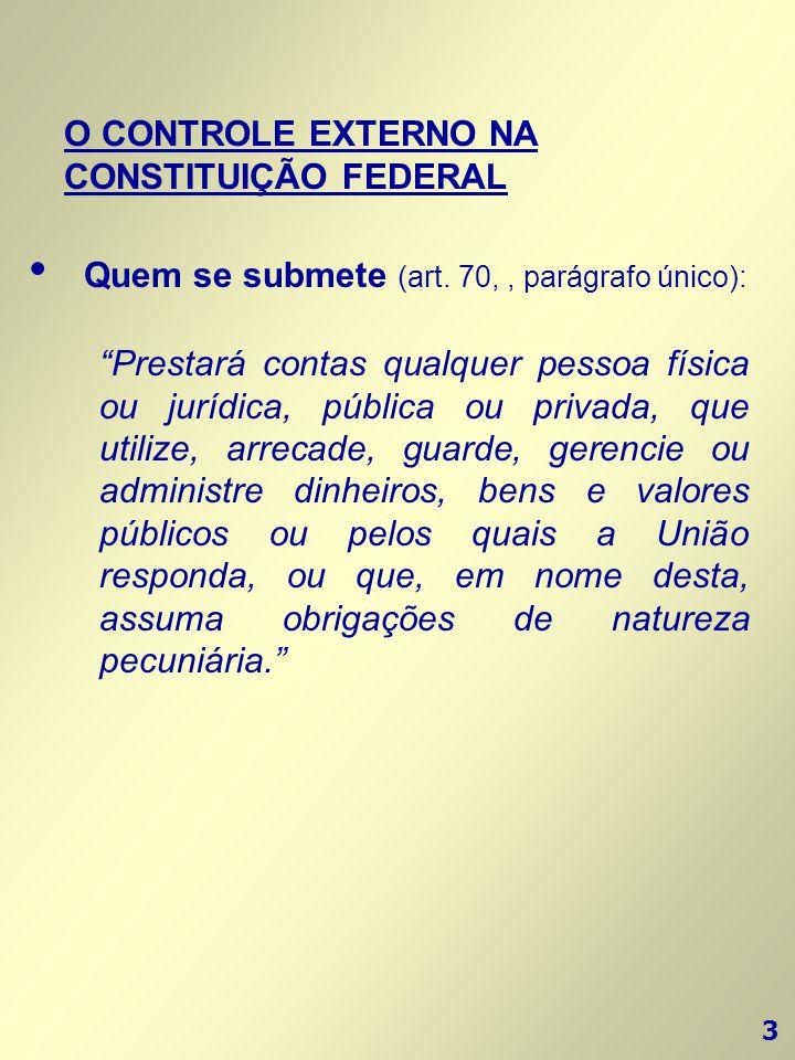 """3 O CONTROLE EXTERNO NA CONSTITUIÇÃO FEDERAL """"Prestará contas qualquer pessoa física ou jurídica, pública ou privada, que utilize, arrecade, guarde, g"""