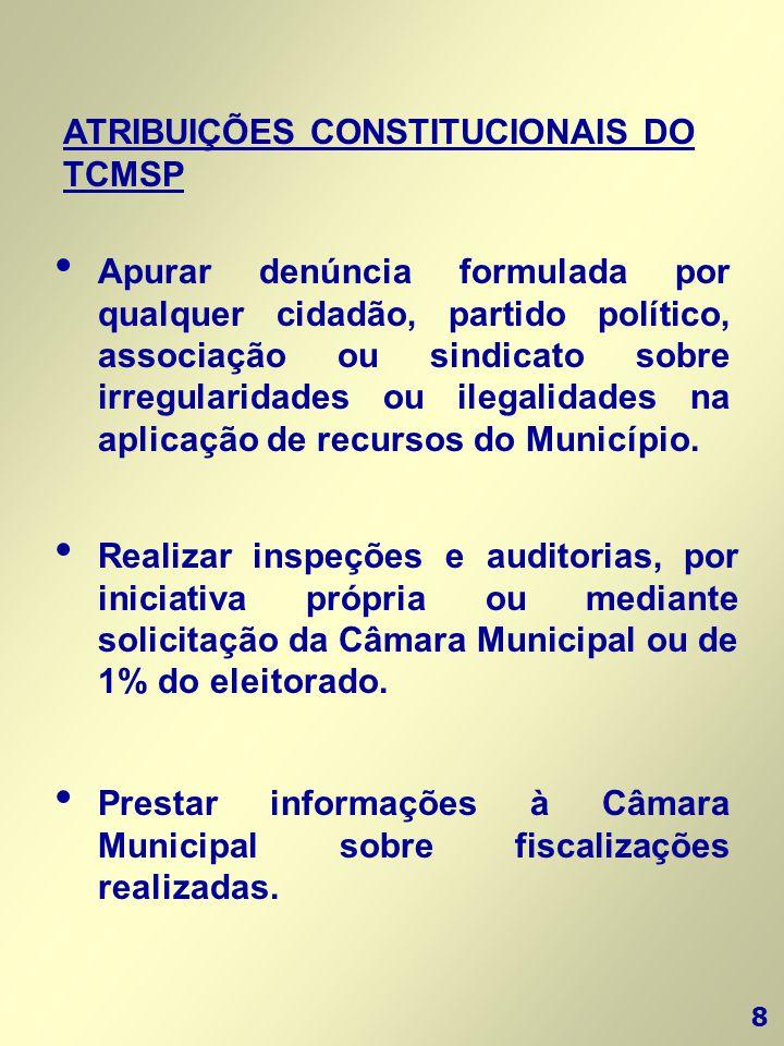 8 ATRIBUIÇÕES CONSTITUCIONAIS DO TCMSP • Apurar denúncia formulada por qualquer cidadão, partido político, associação ou sindicato sobre irregularidad
