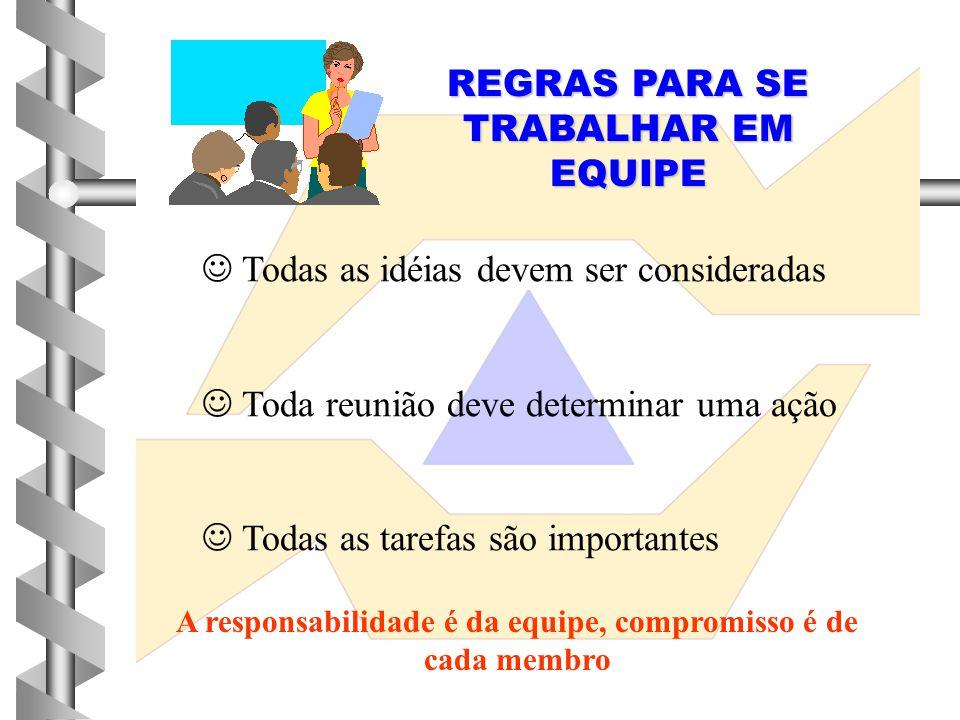 REGRAS PARA SE TRABALHAR EM EQUIPE  Todas as idéias devem ser consideradas  Toda reunião deve determinar uma ação  Todas as tarefas são importantes