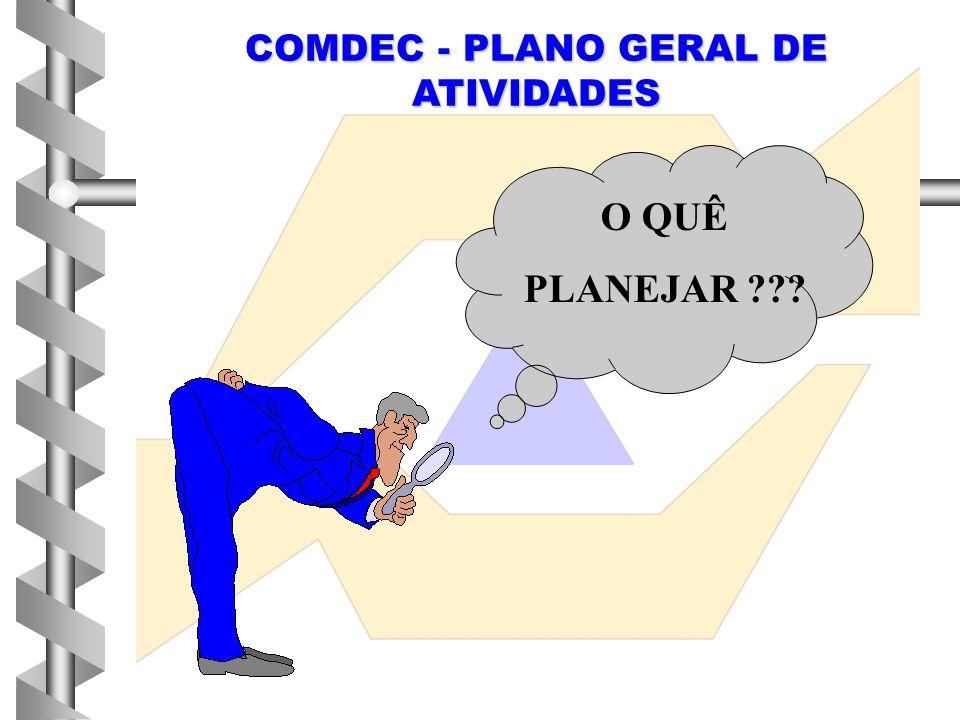 COMDEC - PLANO GERAL DE ATIVIDADES O QUÊ PLANEJAR ???