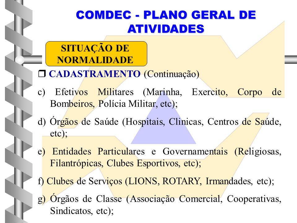 COMDEC - PLANO GERAL DE ATIVIDADES  CADASTRAMENTO (Continuação) c) Efetivos Militares (Marinha, Exercito, Corpo de Bombeiros, Polícia Militar, etc);