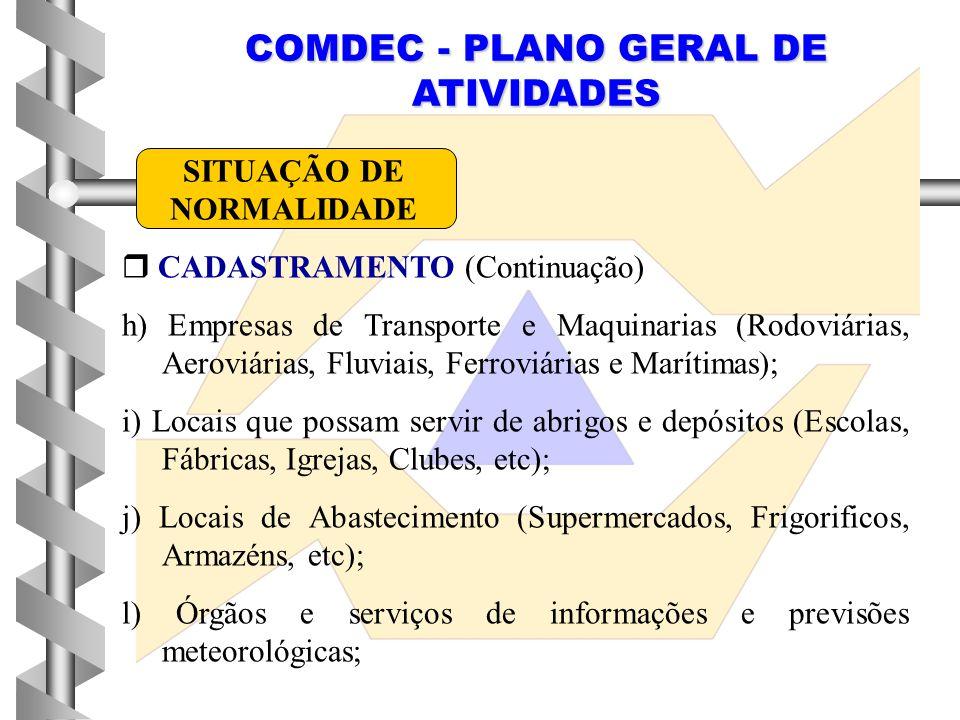 COMDEC - PLANO GERAL DE ATIVIDADES  CADASTRAMENTO (Continuação) h) Empresas de Transporte e Maquinarias (Rodoviárias, Aeroviárias, Fluviais, Ferroviá