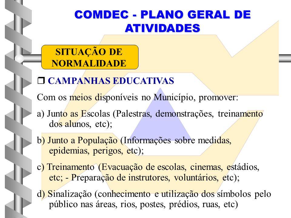 COMDEC - PLANO GERAL DE ATIVIDADES  CAMPANHAS EDUCATIVAS Com os meios disponíveis no Município, promover: a) Junto as Escolas (Palestras, demonstraçõ