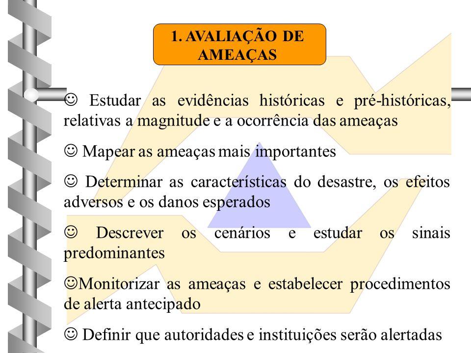 1. AVALIAÇÃO DE AMEAÇAS  Estudar as evidências históricas e pré-históricas, relativas a magnitude e a ocorrência das ameaças  Mapear as ameaças mais