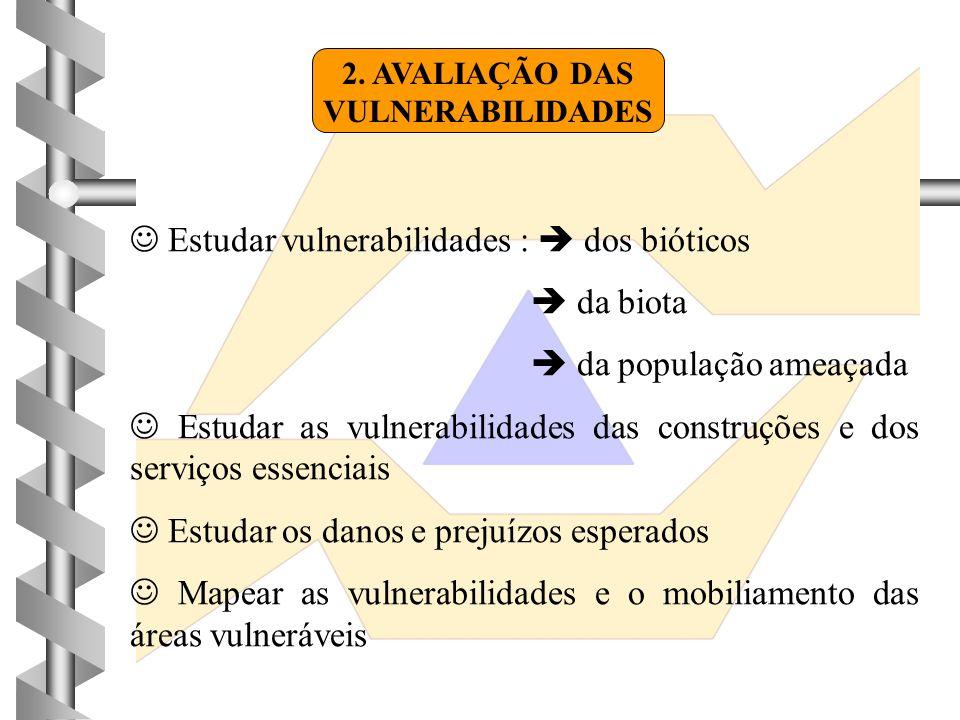2. AVALIAÇÃO DAS VULNERABILIDADES  Estudar vulnerabilidades :  dos bióticos  da biota  da população ameaçada  Estudar as vulnerabilidades das con