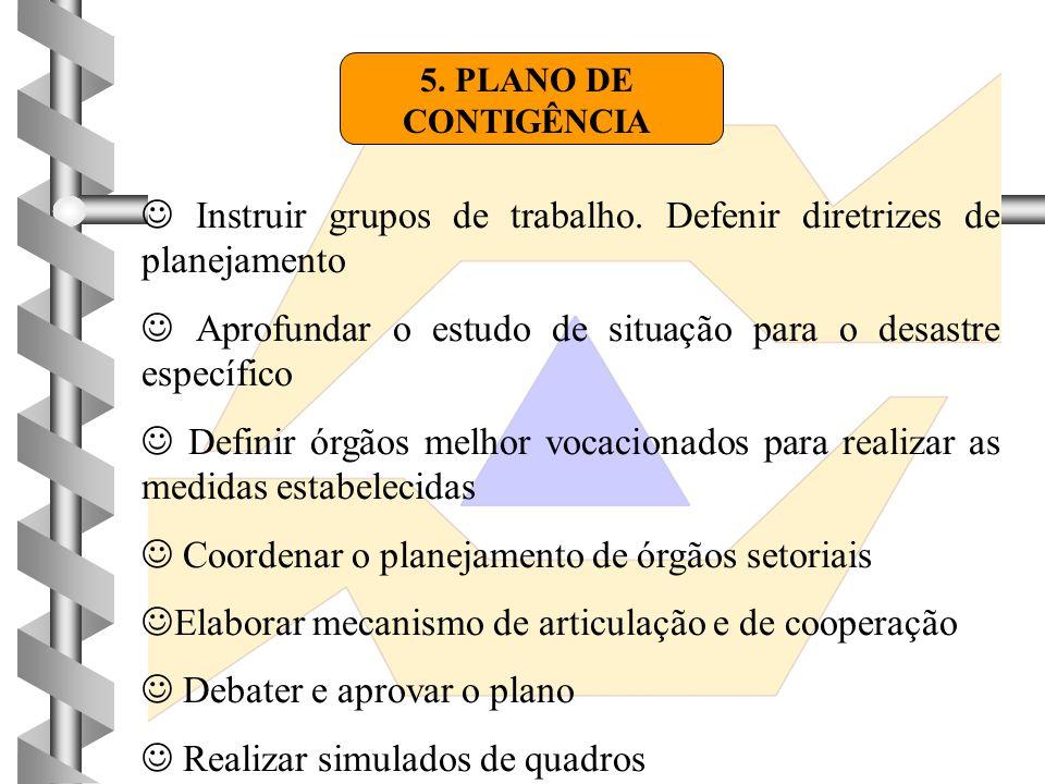 5. PLANO DE CONTIGÊNCIA  Instruir grupos de trabalho. Defenir diretrizes de planejamento  Aprofundar o estudo de situação para o desastre específico