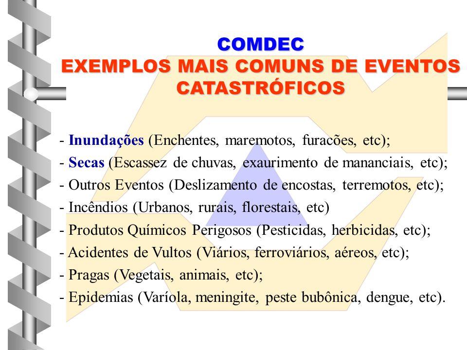 COMDEC EXEMPLOS MAIS COMUNS DE EVENTOS CATASTRÓFICOS - Inundações (Enchentes, maremotos, furacões, etc); - Secas (Escassez de chuvas, exaurimento de m