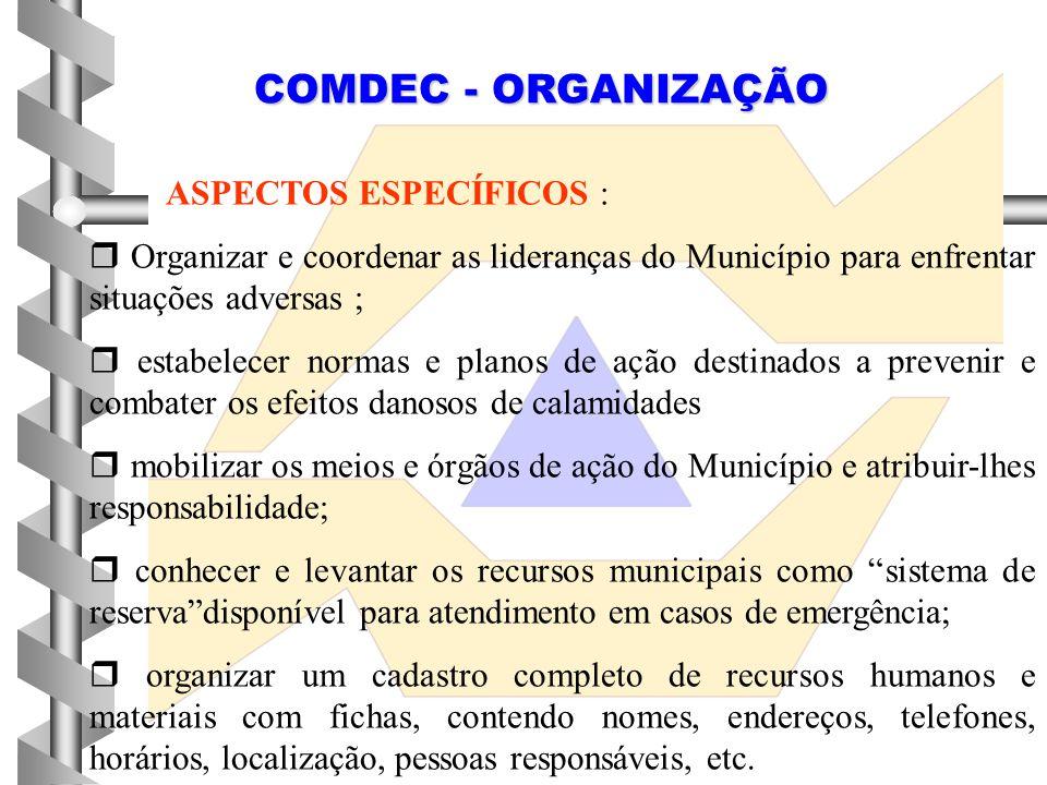COMDEC - ORGANIZAÇÃO ASPECTOS ESPECÍFICOS :  Organizar e coordenar as lideranças do Município para enfrentar situações adversas ;  estabelecer norma