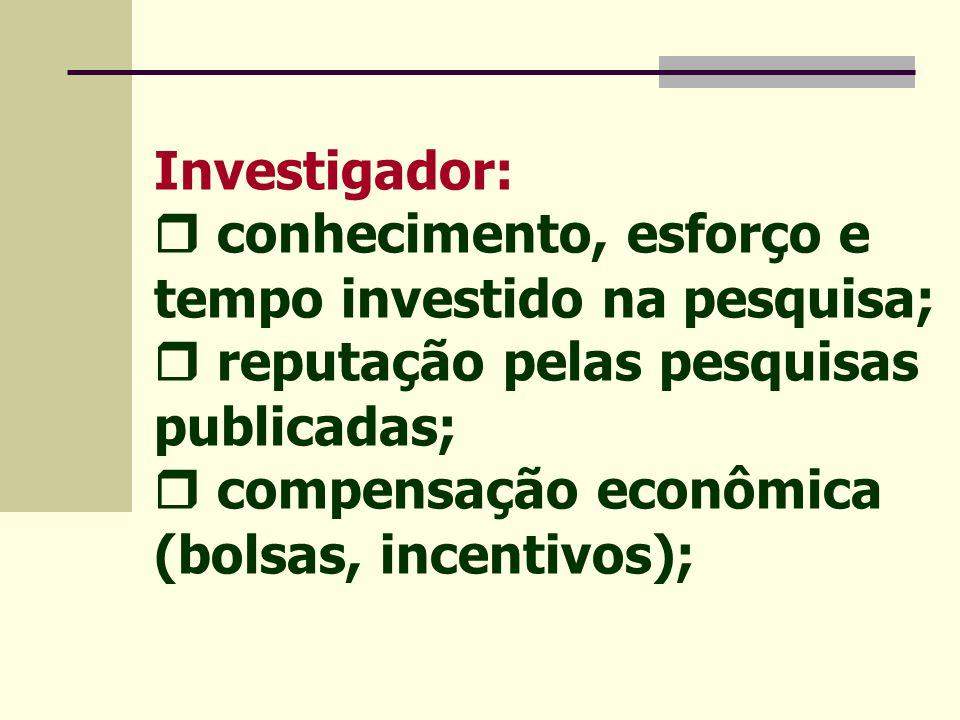 Patrocinador - indústria:  pesquisa relevante para as necessidades do mercado;  mínima demora na aplicação das pesquisas;  mínimo custo;  proteção dos interesses financeiros (patentes).