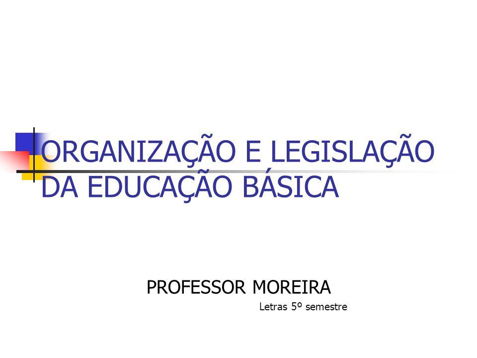 ORGANIZAÇÃO E LEGISLAÇÃO DA EDUCAÇÃO BÁSICA PROFESSOR MOREIRA Letras 5º semestre