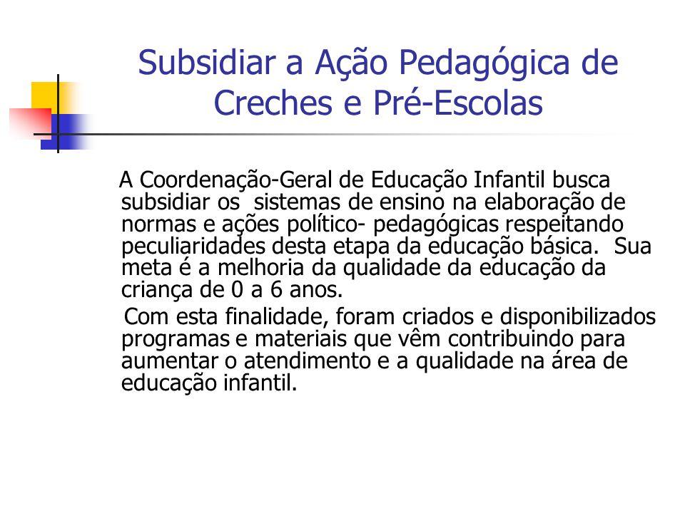 Subsidiar a Ação Pedagógica de Creches e Pré-Escolas A Coordenação-Geral de Educação Infantil busca subsidiar os sistemas de ensino na elaboração de n