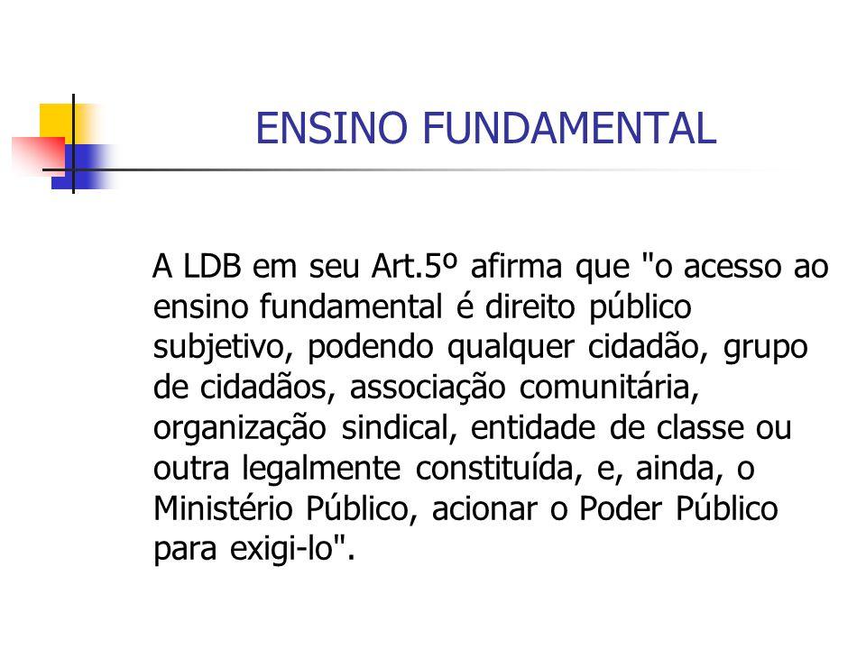 ENSINO FUNDAMENTAL A LDB em seu Art.5º afirma que