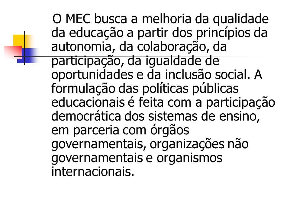 O MEC busca a melhoria da qualidade da educação a partir dos princípios da autonomia, da colaboração, da participação, da igualdade de oportunidades e