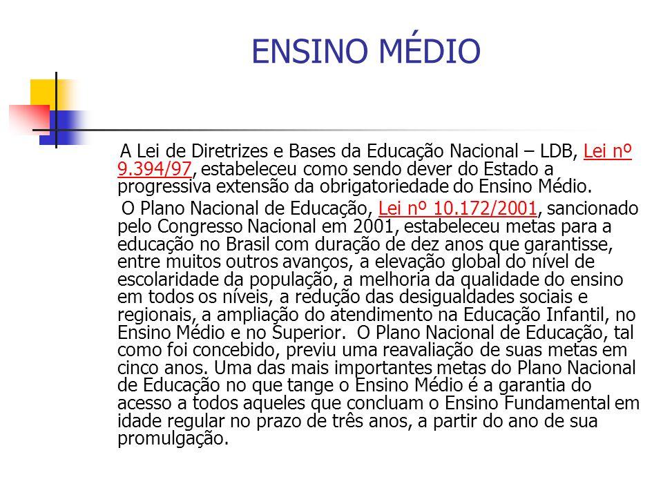 ENSINO MÉDIO A Lei de Diretrizes e Bases da Educação Nacional – LDB, Lei nº 9.394/97, estabeleceu como sendo dever do Estado a progressiva extensão da