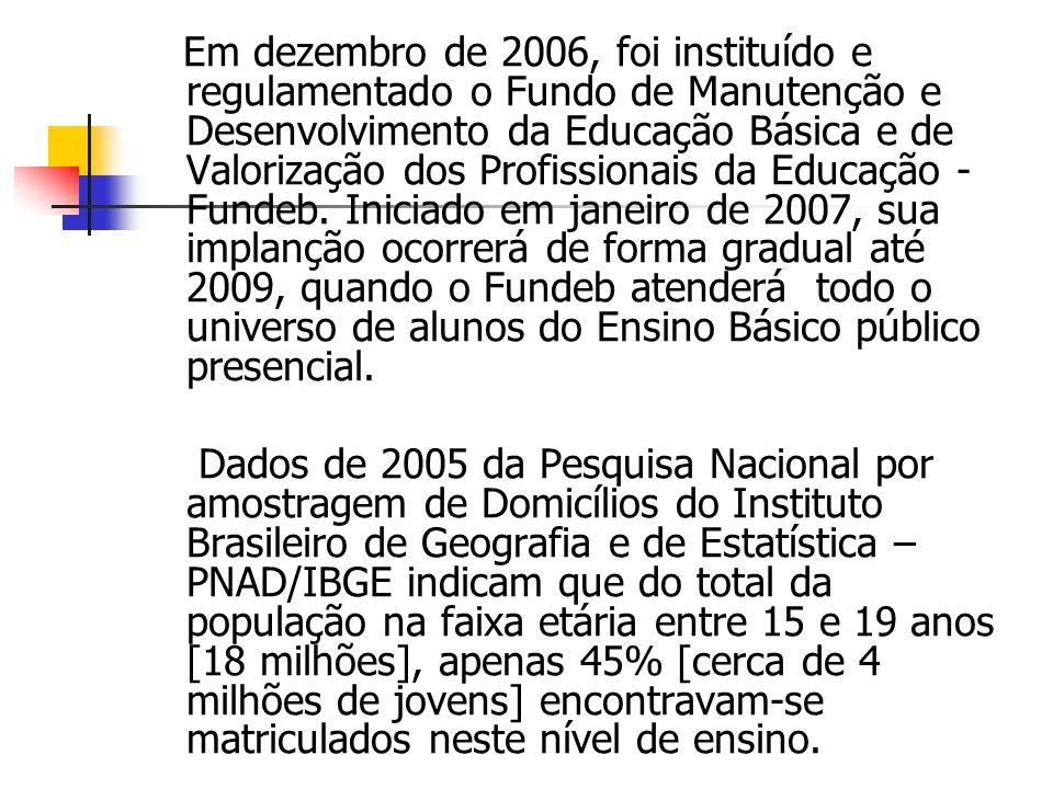 Em dezembro de 2006, foi instituído e regulamentado o Fundo de Manutenção e Desenvolvimento da Educação Básica e de Valorização dos Profissionais da E